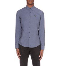 Armani Jeans Slim Fit Chambray Shirt Blue