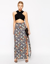 Love Floral Maxi Skirt With Thigh Split Multi