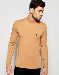 Asos Muscle Long Sleeve T Shirt With Turtleneck And Logo In Tan Tan