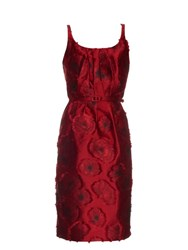 Oscar De La Renta Poppy Jacquard Dress Red