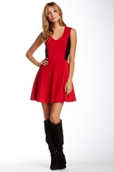 Vfish Vixen Faux Leather Contrast Skater Dress Red