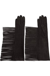 Lanvin Fringed Suede Gloves