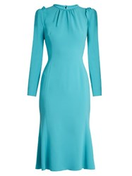 Dolce And Gabbana Ruffle Trimmed Long Sleeved Cady Dress Blue