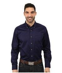 Ariat Solid Twill Shirt Peacoat Men's Long Sleeve Button Up Blue