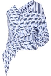 Johanna Ortiz Sherlock One Shoulder Striped Cotton Poplin Top Sky Blue
