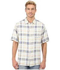 Tommy Bahama Pool Time Plaid S S Pandora Purple Men's Short Sleeve Button Up White
