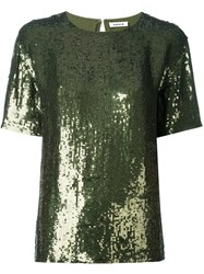 P.A.R.O.S.H. Short Sleeved Sequinned Top Green