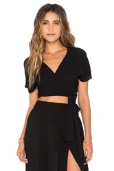 Wildfox Couture Short Sleeve Wrap Top Black