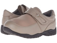 Drew Shoe Antwerp Taupe Leather Taupe Stretch Women's Hook And Loop Shoes