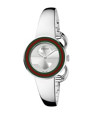 Gucci Ladies U Play Stainless Steel Bangle Watch Silver