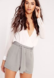 Missguided Tie Waist Crepe Tailored Shorts Grey Grey