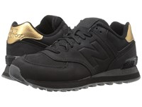 New Balance Wl574 Black Synthetic Women's Lace Up Casual Shoes