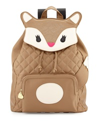 Betsey Johnson Fox Quilted Faux Leather Backpack Spice