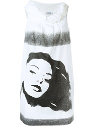 Moschino Vintage Woman Stencil Print Dress Nude And Neutrals