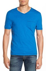 Men's Original Penguin 'Bing' Pocket V Neck T Shirt Snorkel Blue