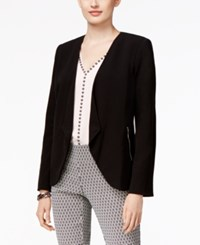 Alfani Petite Open Front Draped Blazer Only At Macy's Deep Black