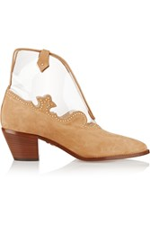 Charlotte Olympia Eastwood Suede And Pvc Ankle Boots Nude