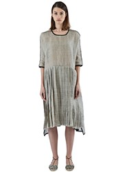 Alexa Stark Oversized Pleated Linen Dress Beige