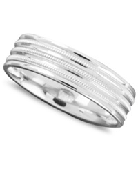 Macy's Men's 14K White Gold Ring Milgrain Row Band Size 6 13