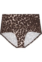 Norma Kamali High Rise Leopard Print Bikini Briefs Dark Brown