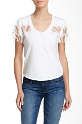 Fate Distressed Scoop Neck Tee White
