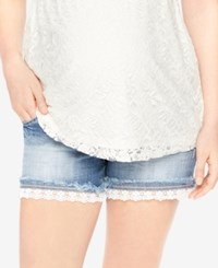 Motherhood Maternity Lace Trim Denim Maternity Shorts Dark Wash