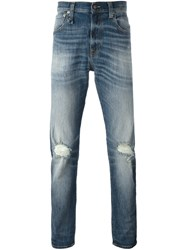 R 13 R13 Frayed Straight Jeans Blue
