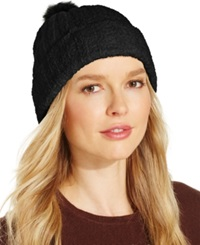 Charter Club Chenille Pom Pom Cuff Hat Only At Macy's Black