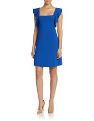 French Connection Marie Ruffled Stretch Dress Electric Blue