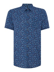 Peter Werth Neau Floral Slim Fit Long Sleeve Button Down Shir Navy