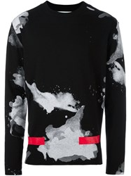 Off White Abstract Pattern Pullover Black