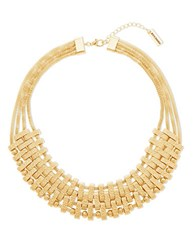 Steve Madden Multi Layer Textured Bars Necklace Gold