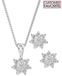 Charter Club Silver Tone Starburst Pendant Necklace And Stud Earrings Jewelry Set