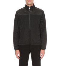 Michael Kors Constrast Shell And Leather Jacket Black