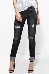 Boohoo Mid Rise Lightly Ripped Skinny Jeans Black