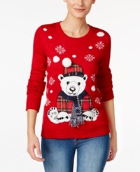 Karen Scott Bear Holiday Sweater Only At Macy's New Red Amore