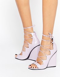 Asos Homegirl Lace Up Wedges Purple