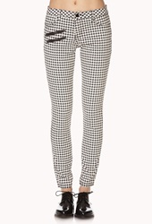 Forever 21 Pixilated Houndstooth Skinny Jeans Cream Black
