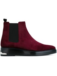 Toga Virilis Suede Ankle Boots Pink And Purple