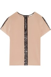 Alice Olivia Bernadeth Lace Trimmed Silk Top Taupe