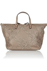 Valentino Lace Appliqued Leather Tote
