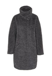 Hallhuber Brushed Mohair Coat Grey
