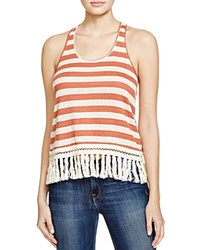 Scotch And Soda Striped Fringe Tank Orange And White Stripe
