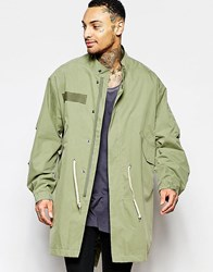 Asos Lightweight Parka Jacket In Khaki Green