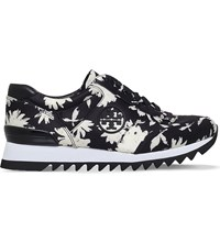 Tory Burch Orchard Print Cotton Runner Trainers Blk White