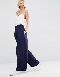 Asos White Pleat Front Wide Leg Satin Trousers Navy