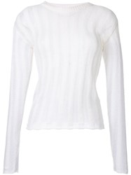 The Elder Statesman Loose Fit Striped Knit Top White