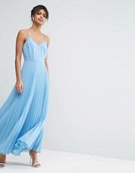 Asos Woven Cami Maxi Dress With Pleated Skirt Pale Blue