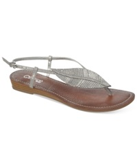 Carlos By Carlos Santana Tandy Sparkle Leaf Flat Thong Sandals Women's Shoes Pewter