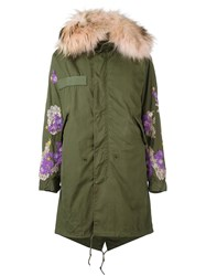 Night Market Floral Patches Parka Coat Green